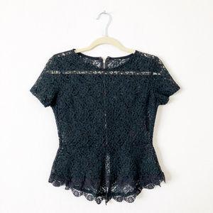 Tops - Black Sheer Lace Peplum Top